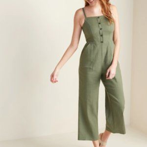 Old Navy Button-Front Linen-Blend Cami Jumpsuit